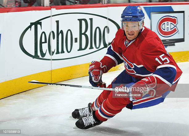 Jeff Halpern of the Montreal Canadiens skates to position during the NHL game against the Ottawa Senators on December 7 2010 at the Bell Centre in...