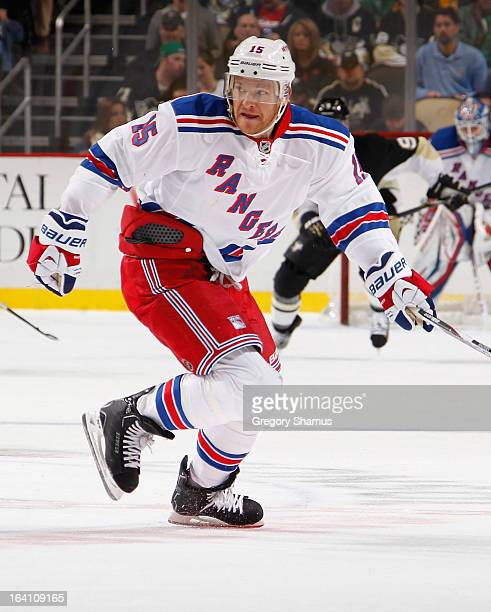 Jeff Halpern of the New York Rangers skates against the Pittsburgh Penguins on March 16 2013 at Consol Energy Center in Pittsburgh Pennsylvania