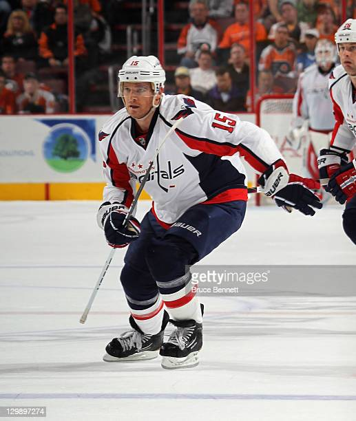 Jeff Halpern of the Washington Capitals skates against the Philadelphia Flyers at the Wells Fargo Center on October 20 2011 in Philadelphia...