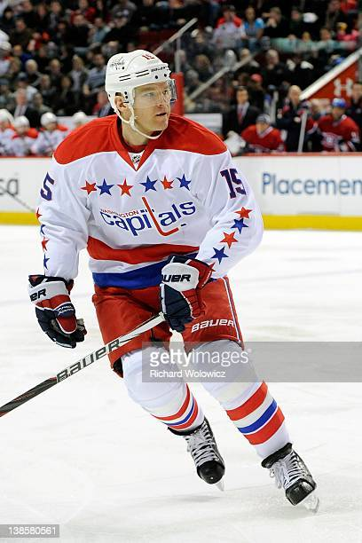 Jeff Halpern of the Washington Capitals skates during the NHL game against the Montreal Canadiens at the Bell Centre on February 4 2012 in Montreal...