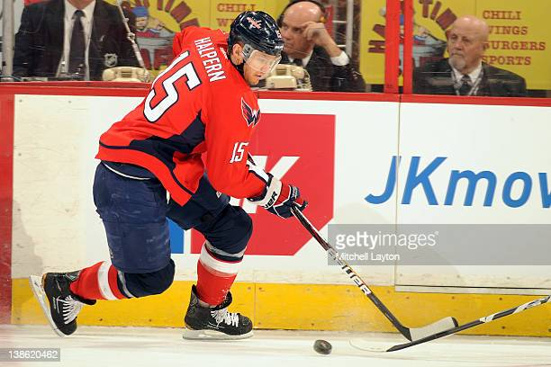Jeff Halpern of the Washington Capitals skates with the puck during an NHL hockey game against the Winnipeg Jets on February 9 2012 at the Verizon...
