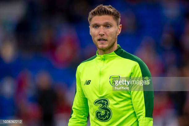 Jeff Handrick of Ireland during the UEFA Nations League 2019 between Wales and Republic of Ireland at Cardiff City Stadium in Cardiff United Kingdom...
