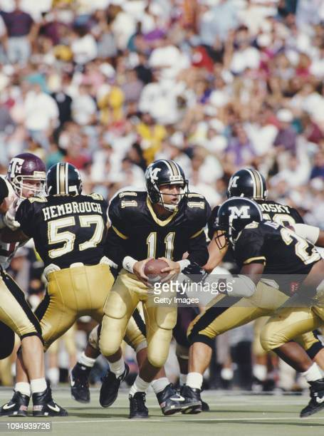 Jeff Handy, Quarterback for the University of Missouri Tigers during the NCAA Big-8 Conference college football game against the Texas A&M Aggies on...