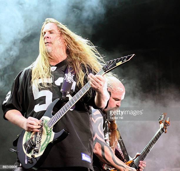 Jeff Hanneman and Kerry King of Slayer perform in the Rockstar Energy Drink Mayhem Festival at Lakewood Amphitheatre on July 24 2009 in Atlanta...