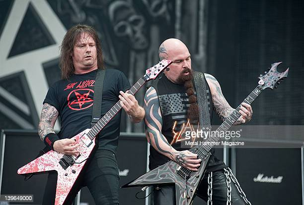Jeff Hanneman and Kerry King of Slayer perform live on stage at Sonisphere Festival on July 8 2011