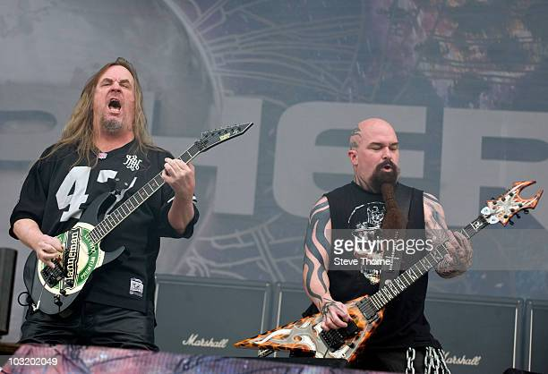 Jeff Hanneman and Kerry King of Slayer perform on stage during the final day of Sonisphere Festival at Knebworth House on August 1 2010 in Stevenage...