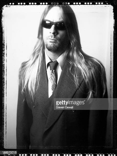 Jeff Hanneman guitarist with Slayer poses for a studio portrait in Los Angeles California United States 2001