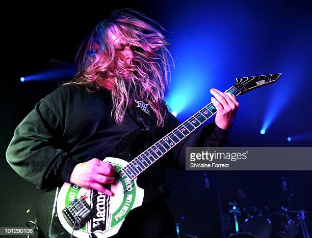 Jeff Hanneman of Slayer performs at Manchester Academy on May 30 2010 in Manchester England