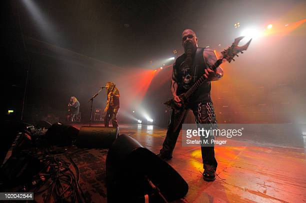 Jeff Hannemann Tom Araya and Kerry King of Slayer perform on stage at Zenith on June 13 2010 in Munich Germany