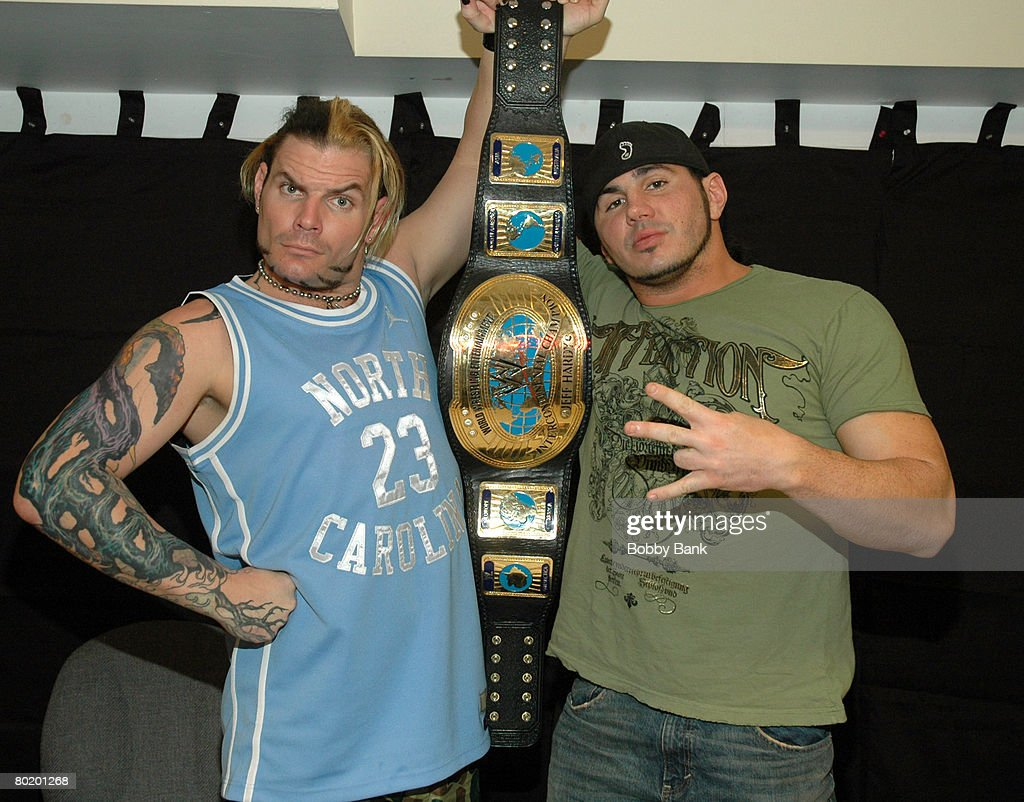 WWE Stars Jeff Hardy and Matt Hardy Sign Autographs at Bookends Bookstore in Ridgewood, New Jersey : News Photo