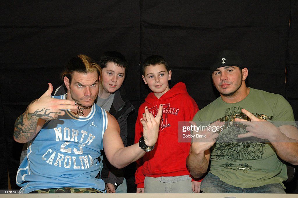 Jeff Hardy, guests and Matt Hardy during WWE Stars Jeff Hardy and Matt Hardy Sign Autographs at Bookends Bookstore in Ridgewood, New Jersey at Bookends Bookstore in Ridgewood, New Jersey, United States.