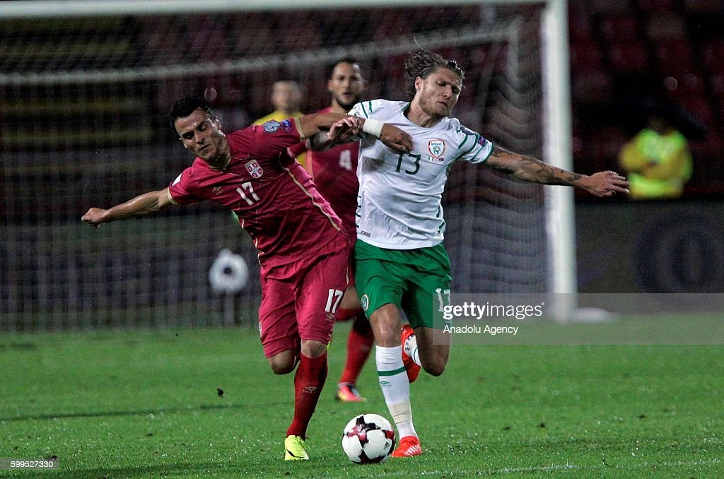 Jeff Hendirk (13) of Ireland in action against Filip Kostic (17) of Serbia during the 2018 FIFA World Cup Qualifying match between Serbia and Ireland at Red Star Stadium in Belgrade, Serbia on September 5, 2016.