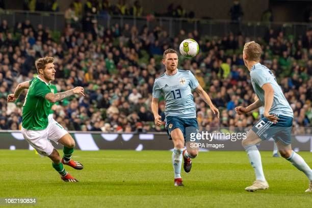 Jeff Hendrick and Corry Evans in action during the friendly international between Rep of Ireland and Northern Ireland at the Aviva Stadium