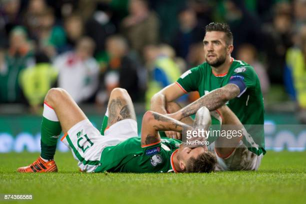 Jeff Hendrick and Shane Duffy of Ireland disappointed during the FIFA World Cup 2018 PlayOff match between Republic of Ireland and Denmark at Aviva...