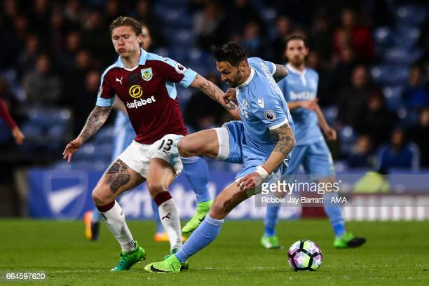 Jeff Hendrick of Burnley and Geoff Cameron of Stoke City during the Premier League match between Burnley and Stoke City at Turf Moor on April 4 2017...