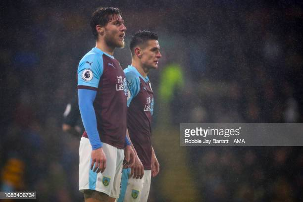 Jeff Hendrick of Burnley and Jack Cork of Burnley stand in a wall during the Premier League match between Burnley FC and Fulham FC at Turf Moor on...