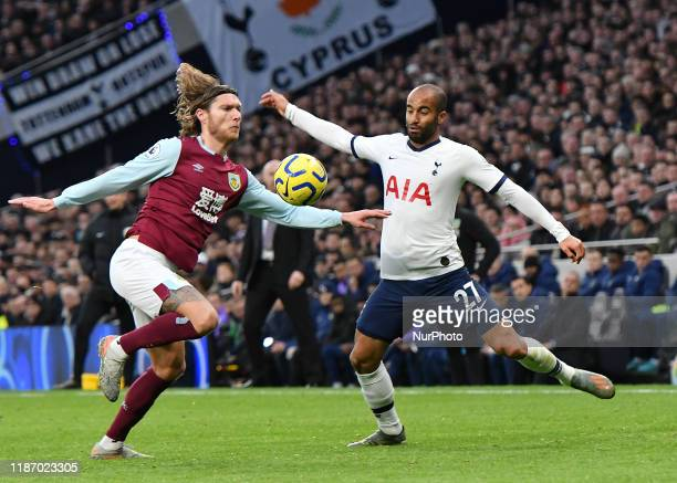 Jeff Hendrick of Burnley battles for possession with Lucas Moura of Tottenham during the Premier League match between Tottenham Hotspur and Burnley...