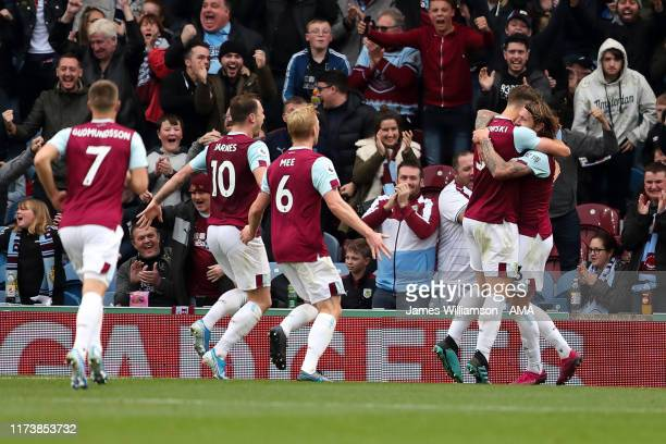 Jeff Hendrick of Burnley celebrates after scoring a goal to make it 10 during the Premier League match between Burnley FC and Everton FC at Turf Moor...