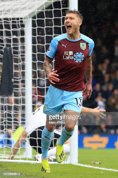 Jeff Hendrick of Burnley celebrates after scoring his team's first goal during the Premier League match between Fulham FC and Burnley FC at Craven...