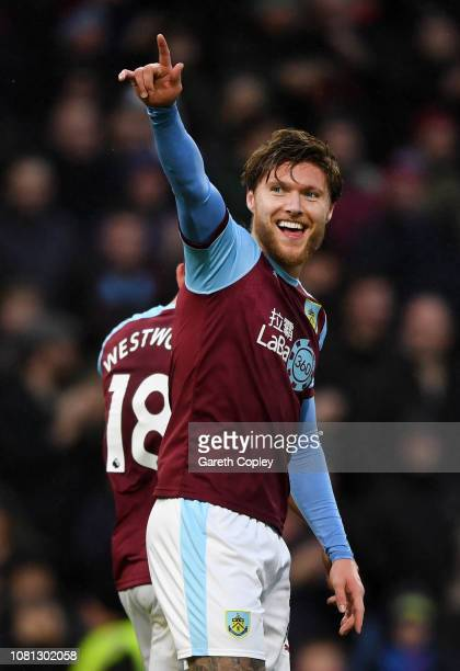 Jeff Hendrick of Burnley celebrates as Joe Bryan of Fulham scores his team's first goal with an own goal during the Premier League match between...