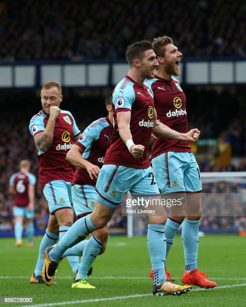 Jeff Hendrick of Burnley celebrates scoring his sides first goal with Stephen Ward of Burnley during the Premier League match between Everton and...