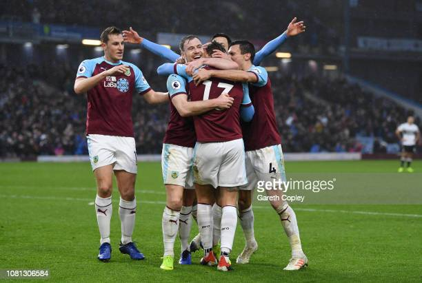 Jeff Hendrick of Burnley celebrates with teammates after his team's first goal during the Premier League match between Burnley FC and Fulham FC at...