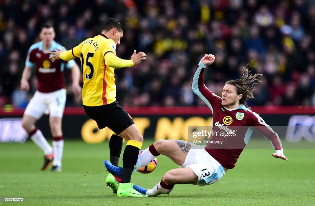 Jeff Hendrick of Burnley fouls on Jose Holebas of Watford resulting in the red card during the Premier League match between Watford and Burnley at Vicarage Road on February 4, 2017 in Watford, England.