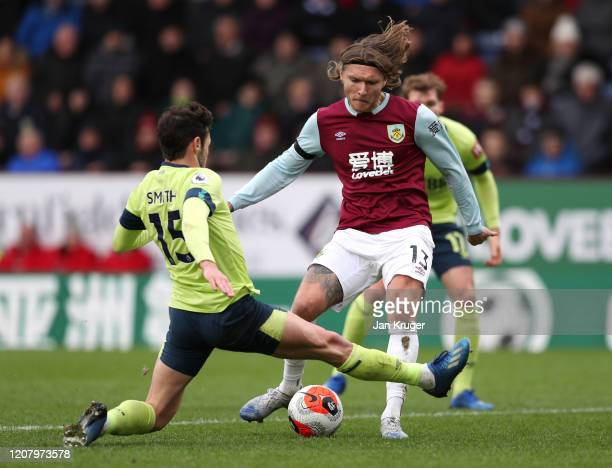Jeff Hendrick of Burnley has a shot blocked by Adam Smith of AFC Bournemouth during the Premier League match between Burnley FC and AFC Bournemouth...