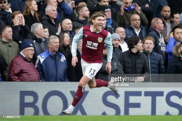 Jeff Hendrick of Burnley has his goal ruled out by VAR during the Premier League match between Chelsea FC and Burnley FC at Stamford Bridge on...