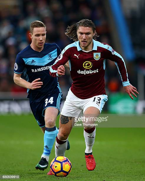 Jeff Hendrick of Burnley holds off pressure from Adam Forshaw of Middlesbrough during the Premier League match between Burnley and Middlesbrough at...