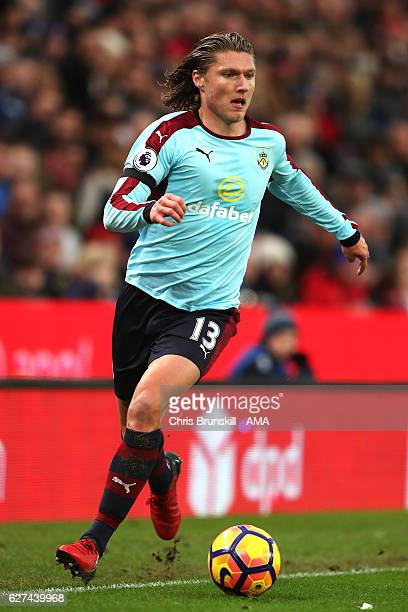 Jeff Hendrick of Burnley in action during the Barclays Premier League match between Stoke City and Burnley at Bet365 Stadium on December 3 2016 in...