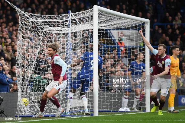 Jeff Hendrick of Burnley scores a goal which is then disallowed following a VAR review during the Premier League match between Chelsea FC and Burnley...