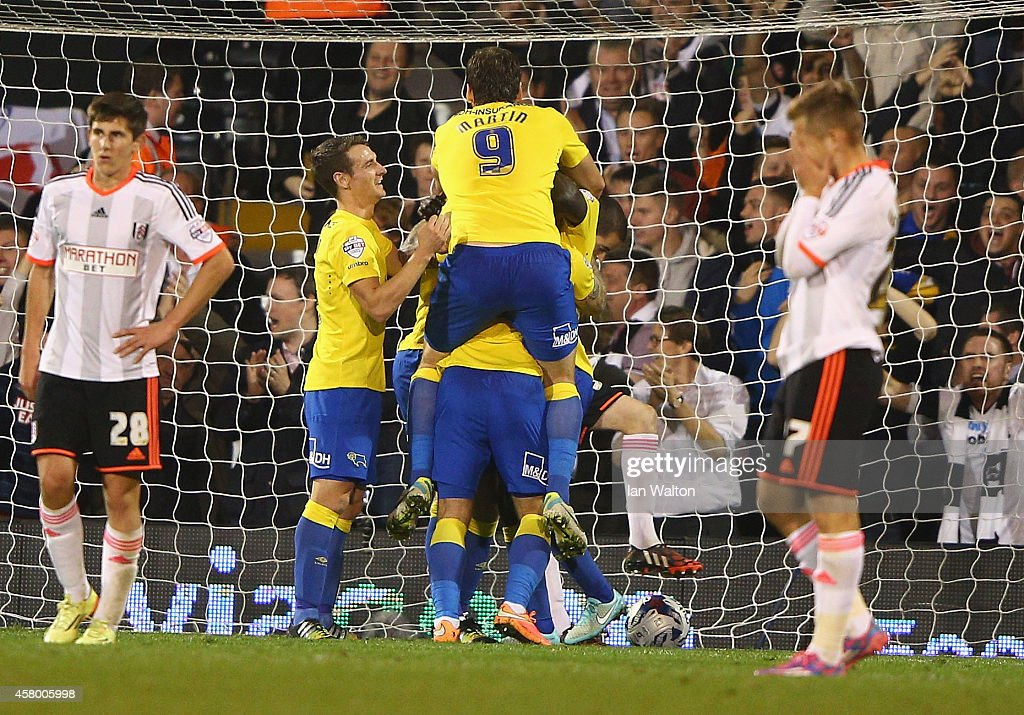 Jeff Hendrick of Derby County celebrates scoring a goal during the Capital One Cup, Fourth Round match between Fulham and Derby County at Craven Cottage on October 28, 2014 in London, England.