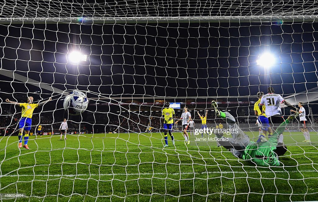 Jeff Hendrick of Derby County scores his goal during the Capital One Cup fourth round match between Fulham Derby County at Craven Cottage on October 28, 2014 in London, England.