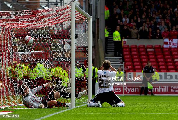 Jeff Hendrick of Derby has his head in his hands after missing from close range during the npower Championship match between Nottingham Forest and...