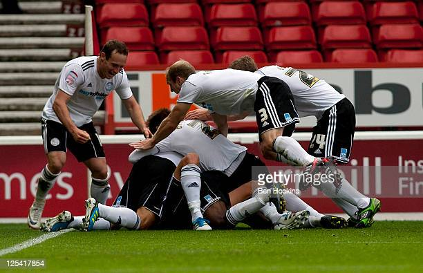 Jeff Hendrick of Derby is mobbed by team mates after scoring the second goal during the npower Championship match between Nottingham Forest and Derby...