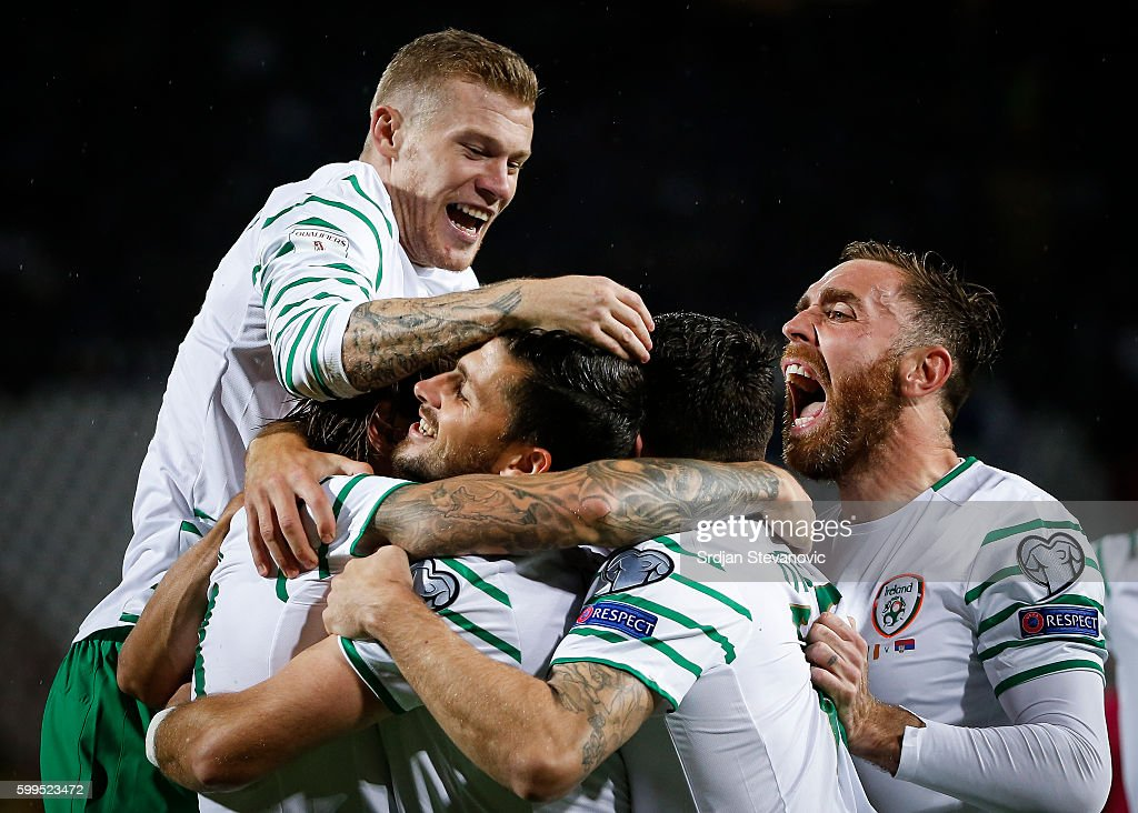 Jeff Hendrick (L) of Ireland celebrate scoring a goal with the team mates during the FIFA 2018 World Cup Qualifier between Serbia and Ireland at stadium Rajko Mitic on September 5, 2016 in Belgrade, Serbia.