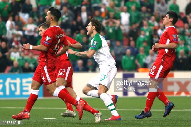 Jeff Hendrick of Ireland celebrates after scoring his sides first goal during the 2020 UEFA European Championships group D qualifying match between...