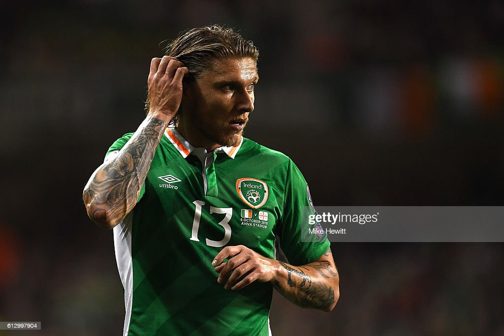 Jeff Hendrick of Ireland in action during the FIFA 2018 World Cup Group D Qualifier between Republic of Ireland Georgia at the Aviva Stadium on October 6, 2016 in Dublin, Ireland.