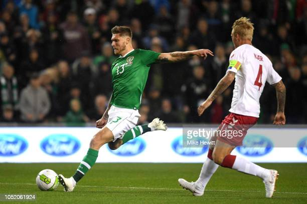 Jeff Hendrick of Ireland shoots during the UEFA Nations League B group four match between Ireland and Denmark at Aviva Stadium on October 13 2018 in...