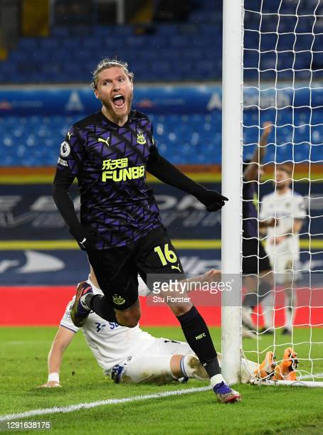 Jeff Hendrick of Newcastle United celebrates after scoring their team's first goal during the Premier League match between Leeds United and Newcastle...