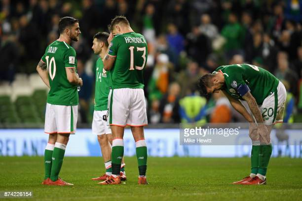 Jeff Hendrick of the Republic of Ireland and Shane Duffy of the Republic of Ireland look dejected after the FIFA 2018 World Cup Qualifier PlayOff...