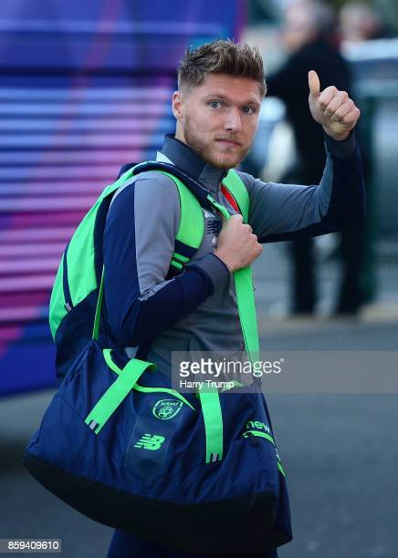 Jeff Hendrick of the Republic of Ireland arrives prior to the FIFA 2018 World Cup Group D Qualifier between Wales and Republic of Ireland at the...