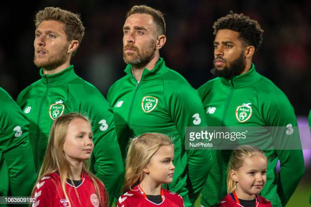 Jeff Hendrick Richard Keogh and Cyrus Christie of Ireland pictured during the UEFA Nations League B Group 4 match between Denmark and Republic of...