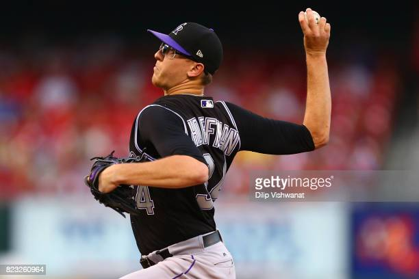 Jeff Hoffman of the Colorado Rockies delivers a pitch against the St Louis Cardinals in the first inning at Busch Stadium on July 26 2017 in St Louis...