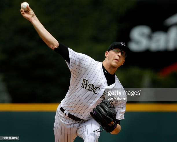 Jeff Hoffman of the Colorado Rockies pitches against the Atlanta Braves in the first inning at Coors Field on August 17 2017 in Denver Colorado