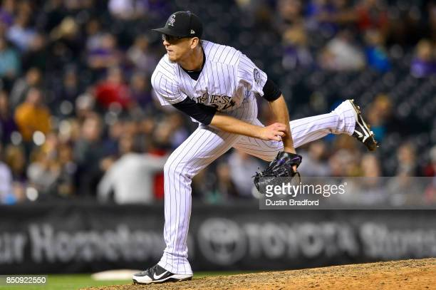 Jeff Hoffman of the Colorado Rockies pitches against the San Diego Padres in the ninth inning of a game at Coors Field on September 16 2017 in Denver...