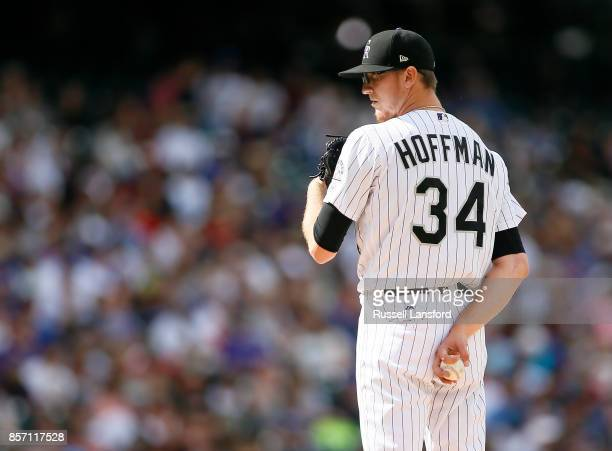Jeff Hoffman of the Colorado Rockies pitches during a regular season MLB game between the Colorado Rockies and the visiting Los Angeles Dodgers at...