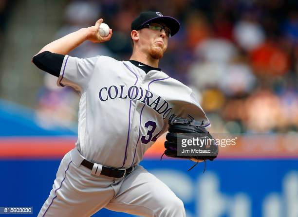 Jeff Hoffman of the Colorado Rockies pitches in the first inning against the New York Mets on July 16 2017 at Citi Field in the Flushing neighborhood...