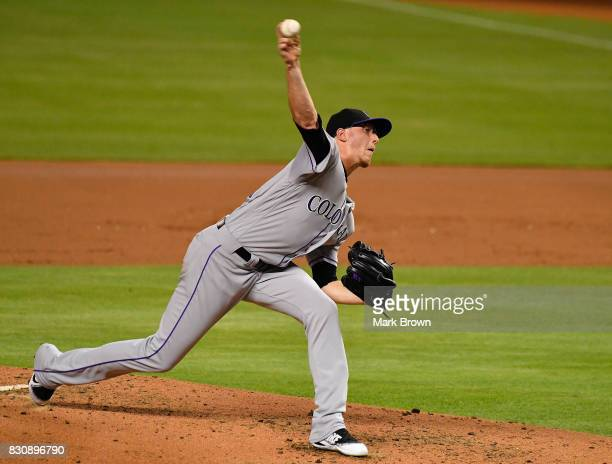 Jeff Hoffman of the Colorado Rockies pitches in the second inning during the game between the Miami Marlins and the Colorado Rockies at Marlins Park...